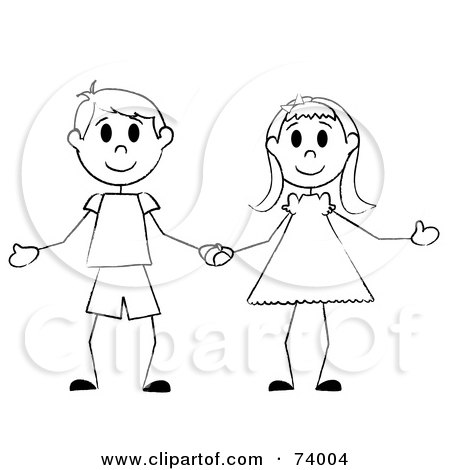 black and white stick boy and girl holding hands, on a white background.