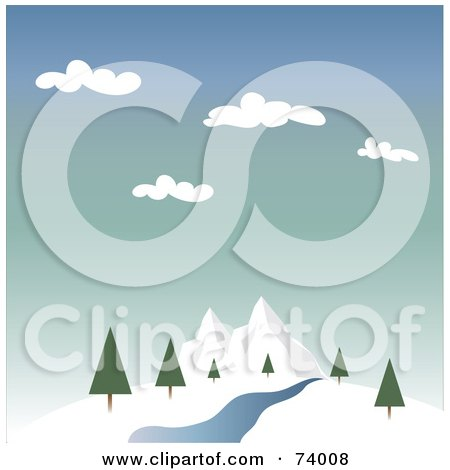 Royalty-Free (RF) Clipart Illustration of a Landscape Of A Creek And Trees Near Winter Mountains by Pams Clipart