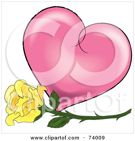 Royalty-Free (RF) Clipart Illustration of a Yellow Rose In Front Of A Pink Shaded Heart by Pams Clipart