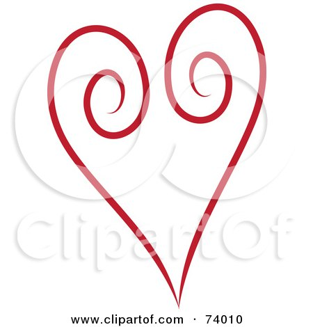 Royalty-Free (RF) Clipart Illustration of a Red Swirl Heart Design by Pams Clipart