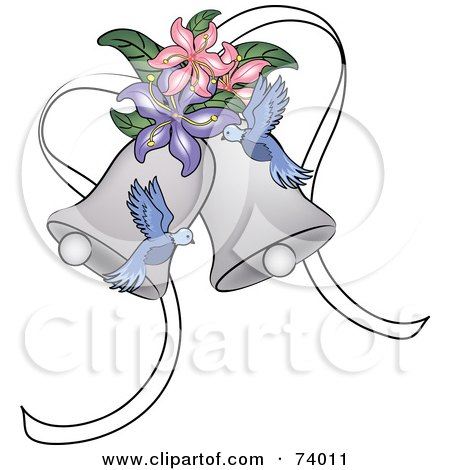Royalty-Free (RF) Clipart Illustration of Blue Doves And Lilies With Wedding Bells by Pams Clipart