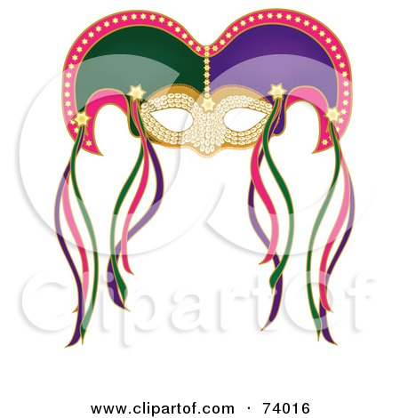 Royalty-Free (RF) Clipart Illustration of a Colorful Mardi Gras Mask With Ribbons by Pams Clipart