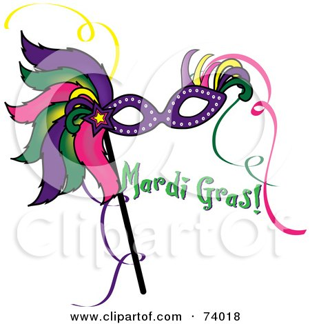 Royalty-Free (RF) Clipart Illustration of a Colorful Feathered Mask With Green Mardi Gras Text by Pams Clipart