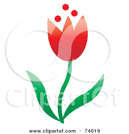 Royalty-Free (RF) Clipart Illustration of a Red Spring Tulip Flower With Green Leaves by Pams Clipart