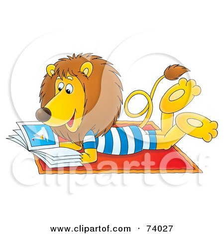 Relaxed Lion Reading A Book On The Beach Posters, Art Prints