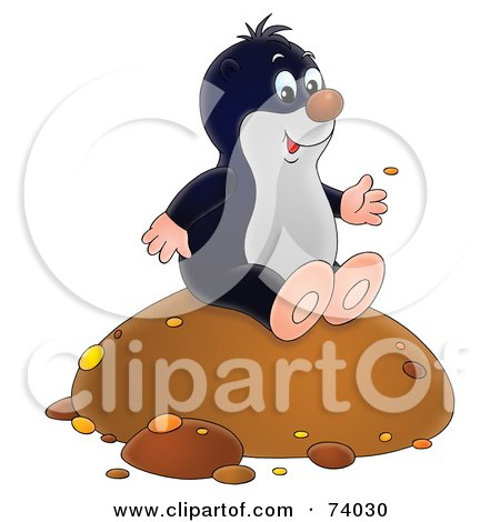 Royalty-Free (RF) Clipart Illustration of a Happy Gopher Sitting On A Mound Of Dirt by Alex Bannykh