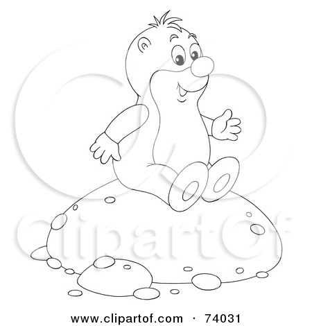 Royalty-Free (RF) Clipart Illustration of a Black And White Outline Of A Gopher Sitting On A Mound Of Dirt by Alex Bannykh