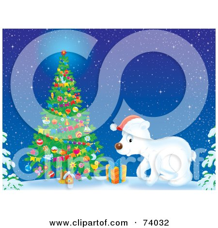 Royalty-Free (RF) Clipart Illustration of a Polar Bear Cub Wearing A Santa Hat And Standing By An Outdoor Christmas Tree In The Snow by Alex Bannykh