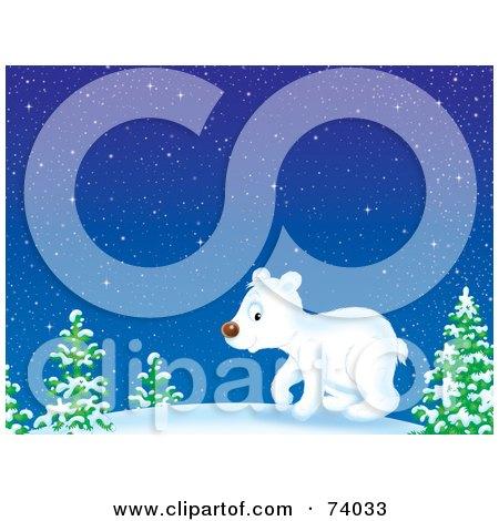 Royalty-Free (RF) Clipart Illustration of a Polar Bear Cub Wandering Through The Snowy Woods by Alex Bannykh