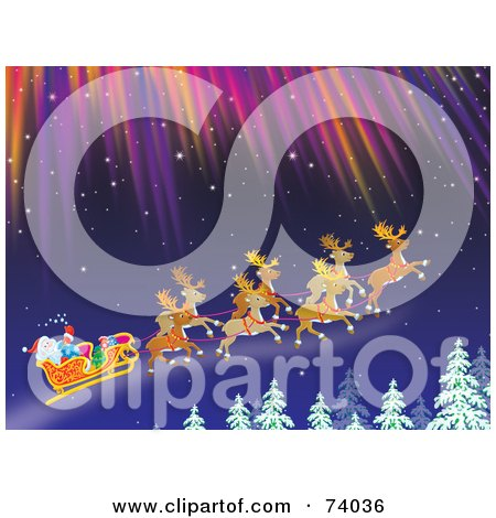 Royalty-Free (RF) Clipart Illustration of Reindeer Flying Santa In His Sleigh Under The Northern Lights Above Tree Tops by Alex Bannykh