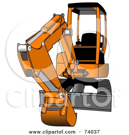 Royalty-Free (RF) Clipart Illustration of a Gray And Orange Mini Hydraulic Excavator Tractor by djart