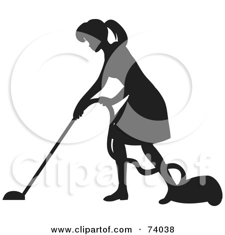 Royalty-Free (RF) Clipart Illustration of a Black Silhouetted Maid Woman Vacuuming A Floor by Rosie Piter