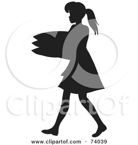 Royalty-Free (RF) Clipart Illustration of a Black Silhouetted Maid Woman Carrying A Stack Of Pillows by Rosie Piter