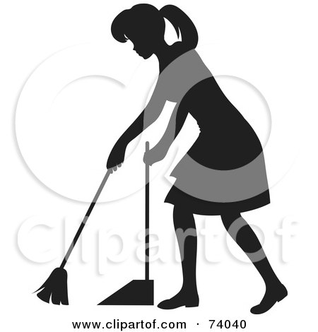 Royalty-Free (RF) Clipart Illustration of a Black Silhouetted Maid Woman Sweeping A Floor by Rosie Piter