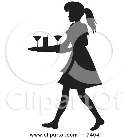 Royalty-Free (RF) Clipart Illustration of a Black Silhouetted Maid Or Waitress Woman Tidying Up Cocktail Glasses by Rosie Piter