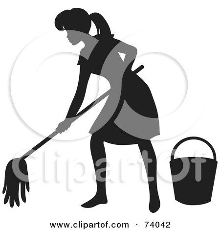 Royalty-Free (RF) Clipart Illustration of a Black Silhouetted Maid Woman Mopping A Floor by Rosie Piter