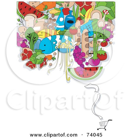 Royalty-Free (RF) Clipart Illustration of a Digital Collage Of Groceries Over A Shopping Cart On White by BNP Design Studio