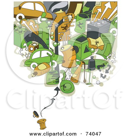 Royalty-Free (RF) Clipart Illustration of Recycling Items Over A Trash Can On White by BNP Design Studio