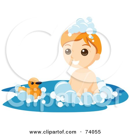 Royalty-Free (RF) Clipart Illustration of a Boy Playing With A Ducky In A Bubble Bath by BNP Design Studio