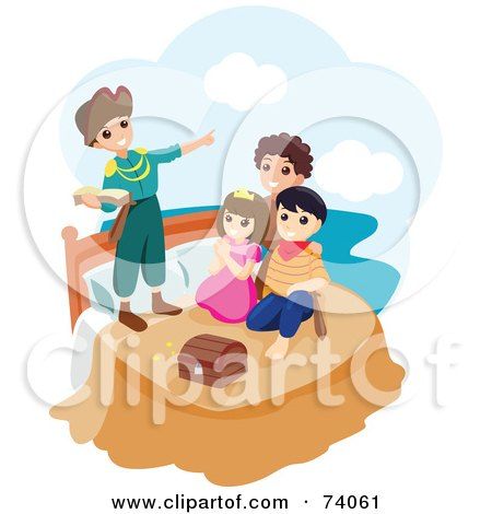 Royalty-Free (RF) Clipart Illustration of a Group Of Children Playing Peter Pan by BNP Design Studio