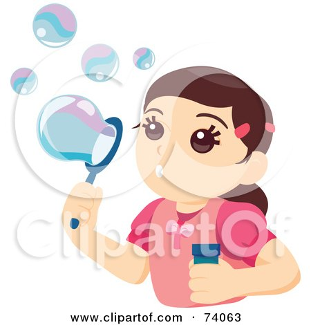 Royalty-Free (RF) Clipart Illustration of a Pretty Little Girl Blowing Bubbles by BNP Design Studio