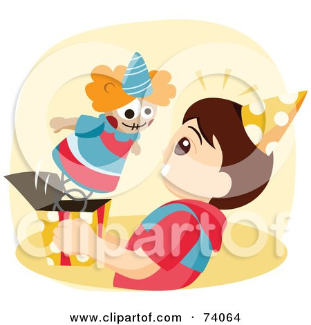 Royalty-Free (RF) Clipart Illustration of a Clown Popping Out Of A Jack In The Box Into A Boys Face by BNP Design Studio