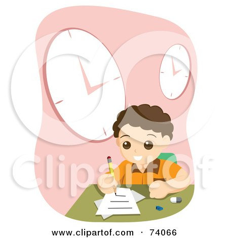 Royalty-Free (RF) Clipart Illustration of a School Boy Doing His Home Work Under Wall Clocks by BNP Design Studio