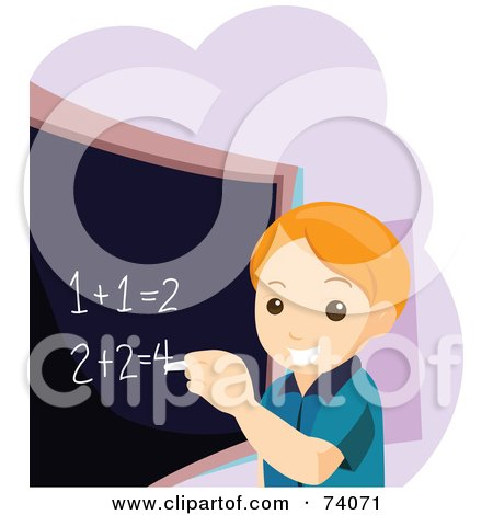 Royalty-Free (RF) Clipart Illustration of a Smart School Boy Completing Math Problems On A Chalk Board by BNP Design Studio