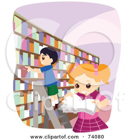 Royalty-free clipart picture of a school girl and boy picking books in a