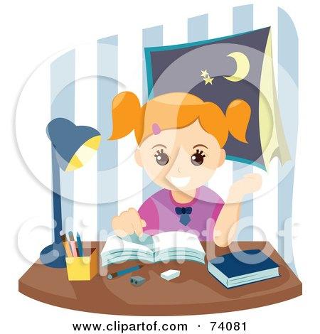 Royalty-Free (RF) Clipart Illustration of a Happy School Girl Doing Her Homework by BNP Design Studio