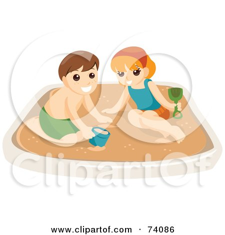 Royalty-Free (RF) Clipart Illustration of a Boy And Girl Playing In A Sand Box, Or On A Beach by BNP Design Studio