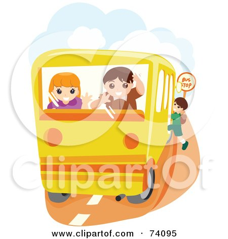 Royalty-Free (RF) Clipart Illustration of a Boy And Girl Looking Out Of The Back Of A School Bus by BNP Design Studio