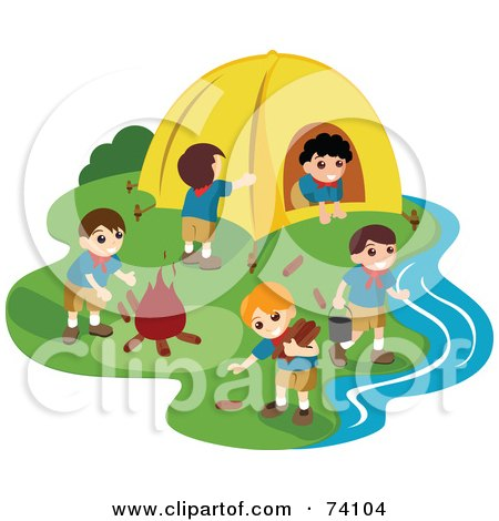 Royalty-Free (RF) Clipart Illustration of a Group Of Male Scouts At A Camp Site by BNP Design Studio