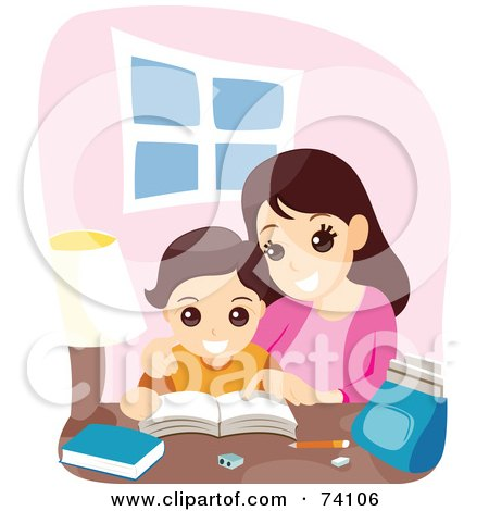 Royalty-Free (RF) Clipart Illustration of a Mother Helping Her Son With School Work by BNP Design Studio