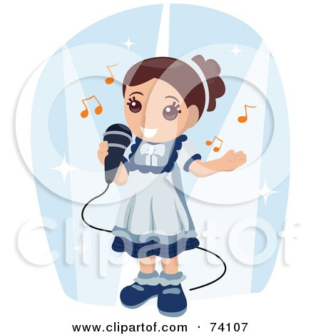 Royalty-Free (RF) Clipart Illustration of a Cute Brunette Girl Singing Into A Microphone by BNP Design Studio