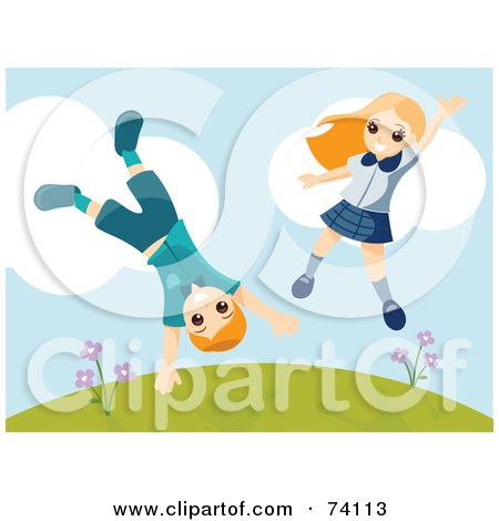 Royalty-Free (RF) Clipart Illustration of an Energetic Boy And Girl Jumping And Doing Cartwheels On A Hill by BNP Design Studio