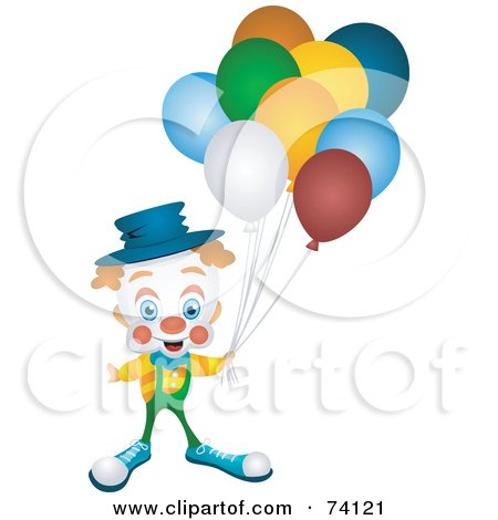 Royalty-Free (RF) Clipart Illustration of a Friendly Party Clown Holding Balloons by BNP Design Studio