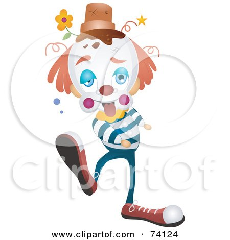 Royalty-Free (RF) Clipart Illustration of a Clumsy Party Clown With A Pot On His Head by BNP Design Studio