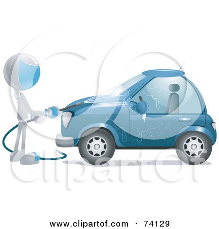 Royalty-Free (RF) Clipart Illustration of a Future Man Washing A Blue Car by BNP Design Studio