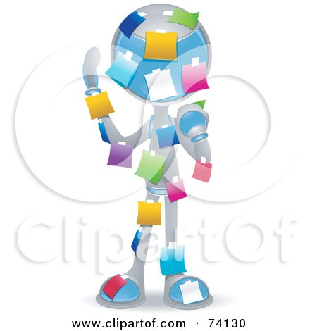 Royalty-Free (RF) Clipart Illustration of a Future Man Covered In Colorful Sticky Notes by BNP Design Studio