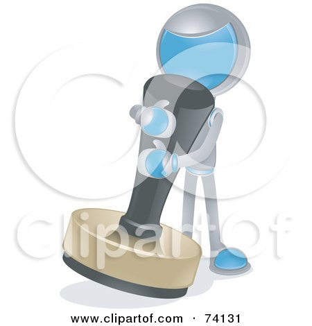 Royalty-Free (RF) Clipart Illustration of a Future Man Using A Giant Stamp by BNP Design Studio