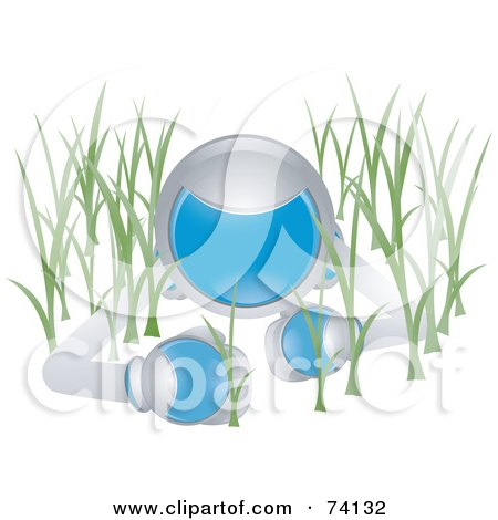 Royalty-Free (RF) Clipart Illustration of a Future Man Crawling In Grass by BNP Design Studio