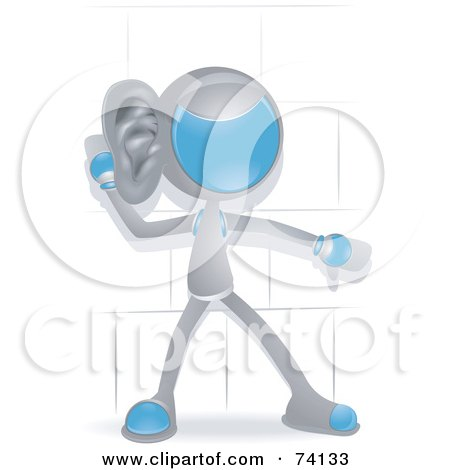 Royalty-Free (RF) Clipart Illustration of a Future Man Listening by BNP Design Studio