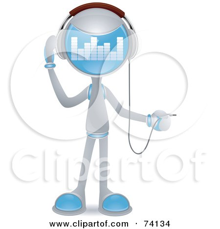 Royalty-Free (RF) Clipart Illustration of a Future Man Plugging In Headphones by BNP Design Studio