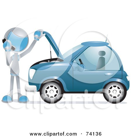 Royalty-Free (RF) Clipart Illustration of a Future Man Calling A Towing Company By A Broken Down Car by BNP Design Studio