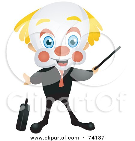 Royalty-Free (RF) Clipart Illustration of a Friendly Party Clown Businessman Pointing by BNP Design Studio