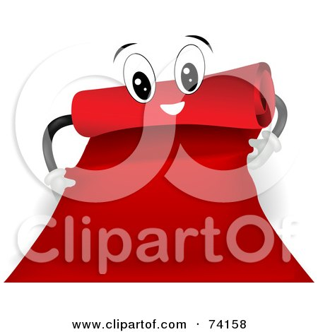 Royalty-Free (RF) Clipart Illustration of a Red Carpet Character Rolling Itself Out by BNP Design Studio