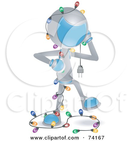 Royalty-Free (RF) Clipart Illustration of a Future Man Tangled In Christmas Lights by BNP Design Studio