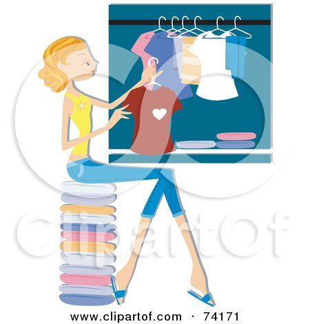 Royalty-Free (RF) Clipart Illustration of a Pretty Home Maker Hanging Laundry In A Closet by BNP Design Studio