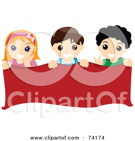 Royalty-Free (RF) Clipart Illustration of a Group Of Boys And A Girl Holding A Blank Red Banner by BNP Design Studio